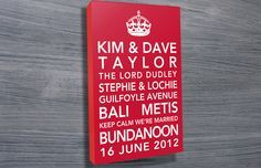 Personalised typographic art by Beyond a Word,personalised art,30th birthday present ideas http://www.beyondaword.com.au/