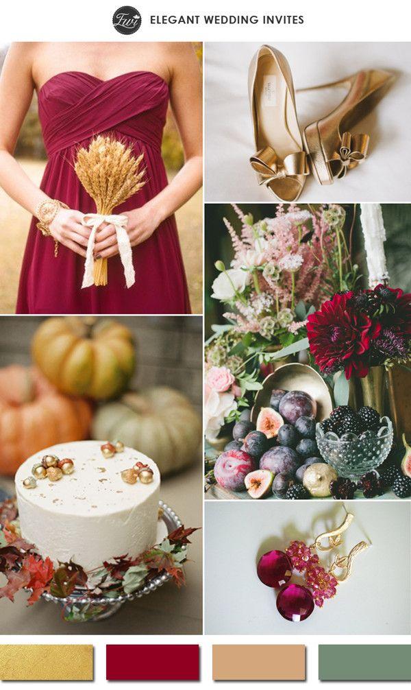 gold and burgundy red fall wedding color ideas 2015 trends #weddingcolors #goldwedding #elegantweddinginvites