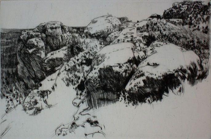 Andreas Vanpoucke, vlaams etser - Rotsen nabij les Baux-de-Provence