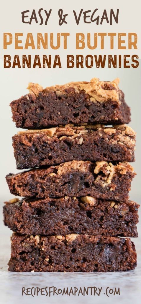 Looking for a sweet and healthy dessert recipe? Try this Peanut Butter Banana Brownies recipe. They're healthy vegan brownies that don't taste healthy at all, plus they're a great way to use up ripe bananas. #vegandesserts #healthydesserts #vegan #veganrecipes #bananabrownies #peanutbutterbrownies