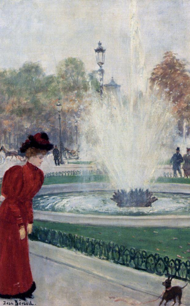 Parisienne Au Rond Point Des Champs  Elysees, by Jean Beraud