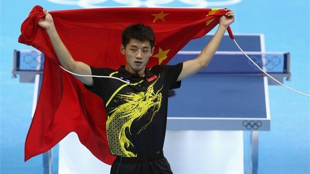 Zhang Jike of China celebrates victory after the men's singles Table Tennis…
