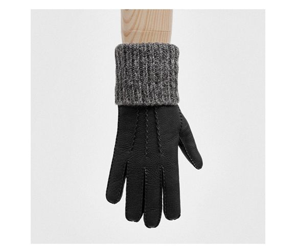 SEH KELLY - Gloves in black deerskin with grey wool cuff. Made in England.