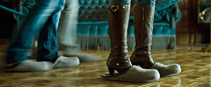 Burg Hohenzollern -we were able to tour the castle's interior, but while doing so, had to wear one-size-fits-all felt slippers to protect the old marble floors from our foot traffic.