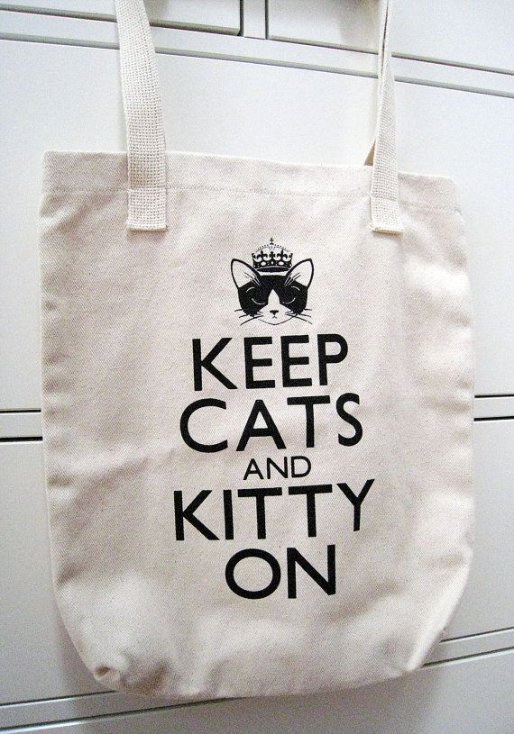 Keep Cats and Kitty On Tote Bag, via Etsy.