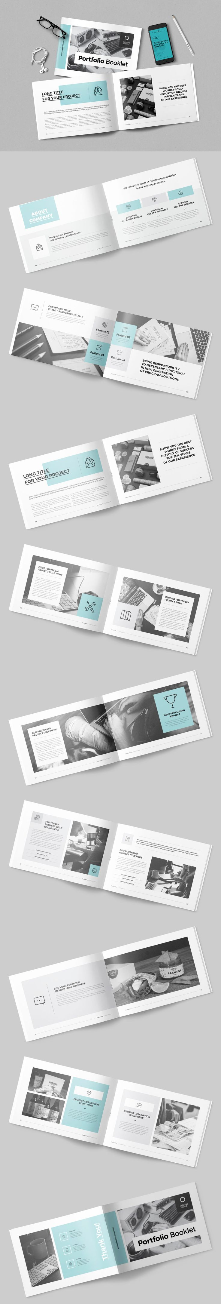 Professional and Clean Portfolio Brochure Design Template InDesign INDD - 18 Pages