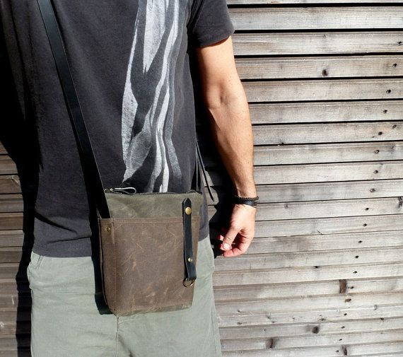 Waxed canvas day bag/small messenger bag by treesizeverse on Etsy, $112.00