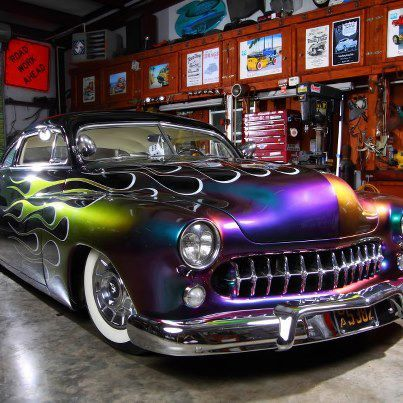 """This is about the only use of """"Chrome illusion"""" paint that I really like!  The Merc is Kool, and the '57 Cadillac caps and Whitewalls, too!"""