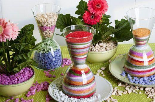 Вазы с песком и цветной грунт для украшения цветочных горшков