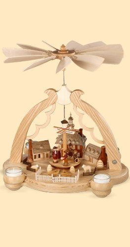 "German christmas pyramid arch ""A Colonial Village"", 1-tier, height 36 cm / 14 inch, natural, original Erzgebirge by Mueller Seiffen  http://www.fivedollarmarket.com/german-christmas-pyramid-arch-a-colonial-village-1-tier-height-36-cm-14-inch-natural-original-erzgebirge-by-mueller-seiffen/"