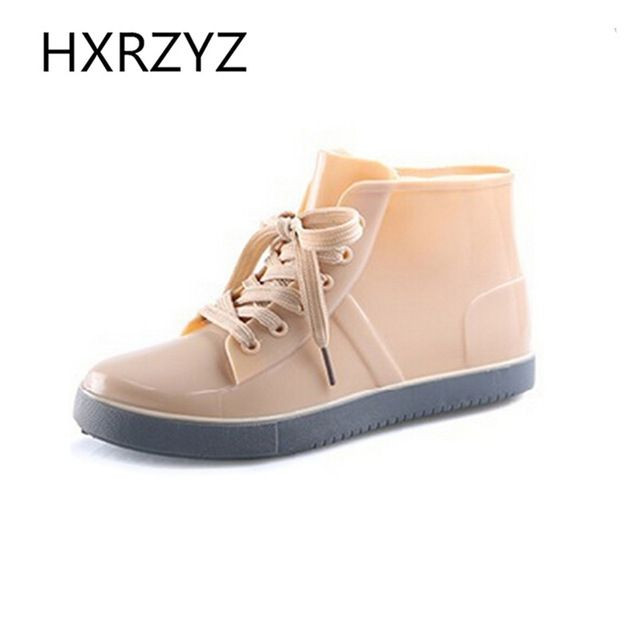 Discounted $29.25, Buy Shoes Women Lace-Up Rain Boots Fashion Solid Flats Shoes Casual Round Toe Women Ankle Boots Jelly Waterproof Shoes Martin Boots