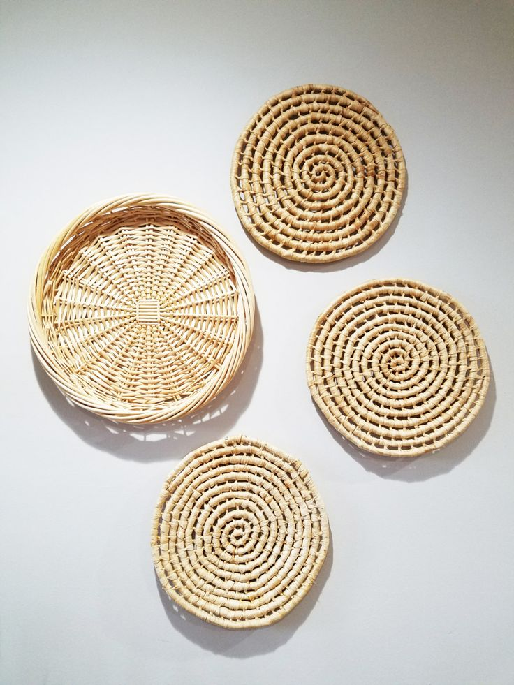 Set of Woven Wicker Wall Baskets - Woven Trivets - Woven Tray - Bohemian Wall Decor - Wall Art - Set of Four by avelynlane on Etsy