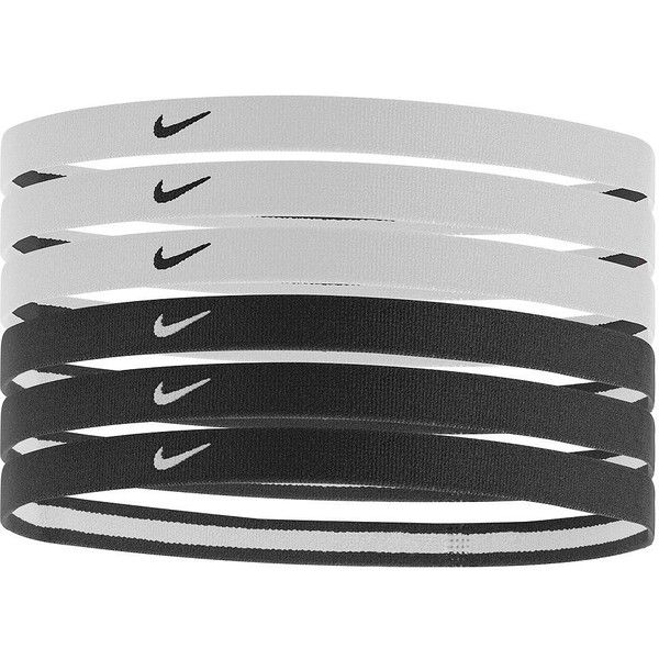Nike 6-pk. Logo Sport Stretch Headbands (Black) ($10) ❤ liked on Polyvore featuring accessories, hair accessories, black, black headband, black sports headband, hair band headband, stretchy headbands and head wrap hair accessories