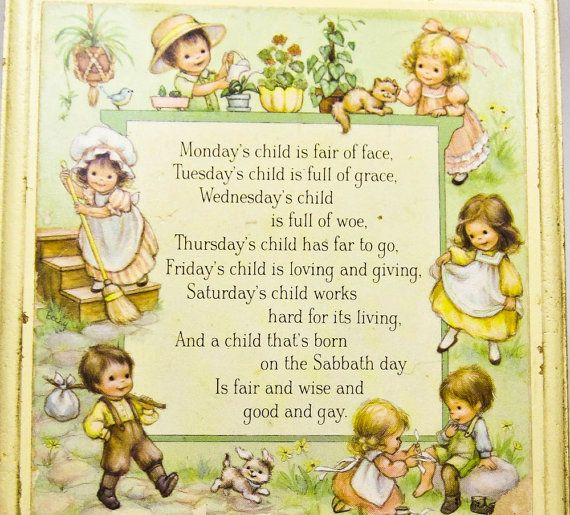 Vintage nursery plaque mondays child wall by for Vintage sites like etsy