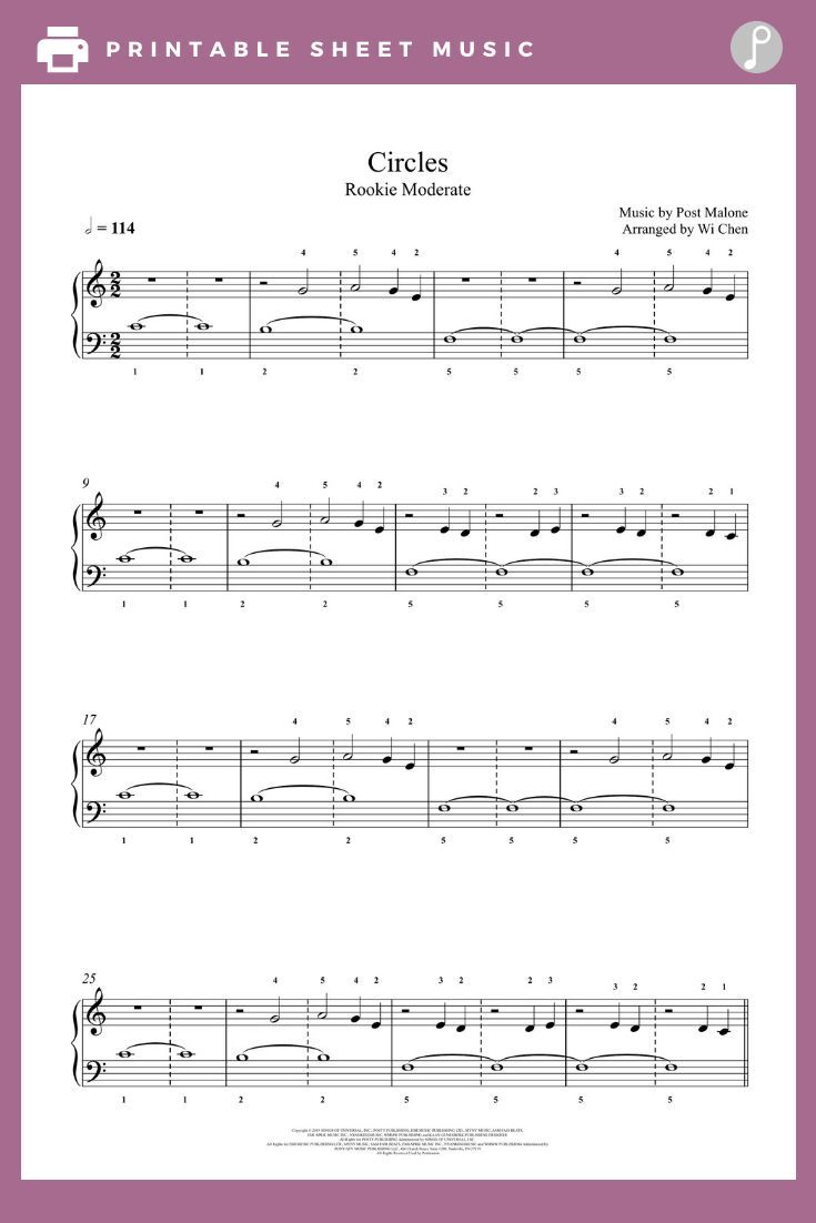 Circles By Post Malone Piano Sheet Music Rookie Level In 2020