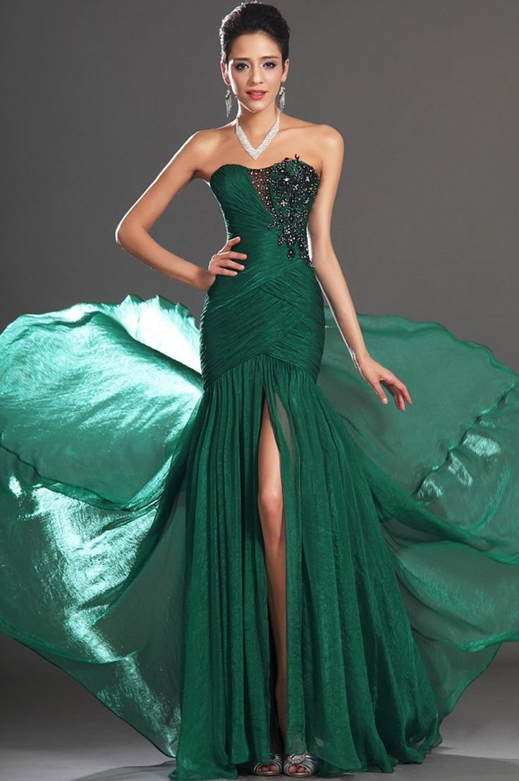 Prom dress new arrival 2016 mermaid pageant dress emerald green - Mz0157 Sexy Side Slit A Line Floor Length Appliqued Chiffon Green Evening Dresses For Mature