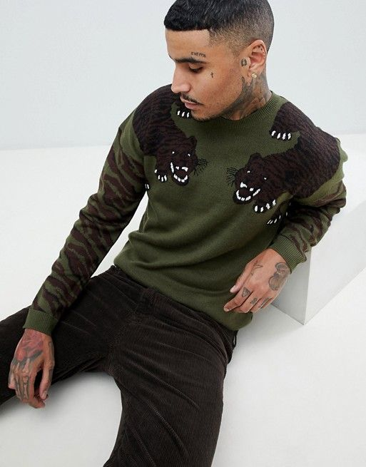 f8693866 DESIGN knitted sweater with tiger design   Sartorially Speaking ...