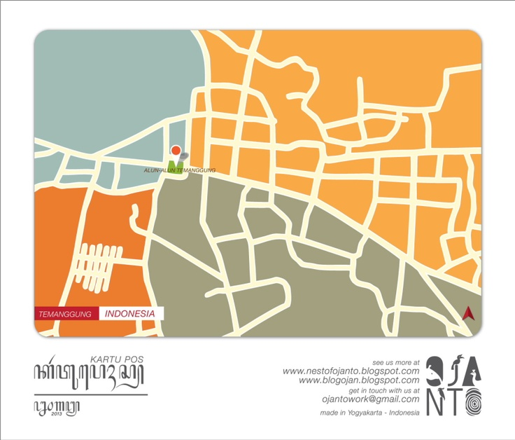 Indonesian City Maps Postcard Series (January 2013) | Temanggung - Indonesia | special spot : Alun-Alun Temanggung | Postcard Design by Ojan