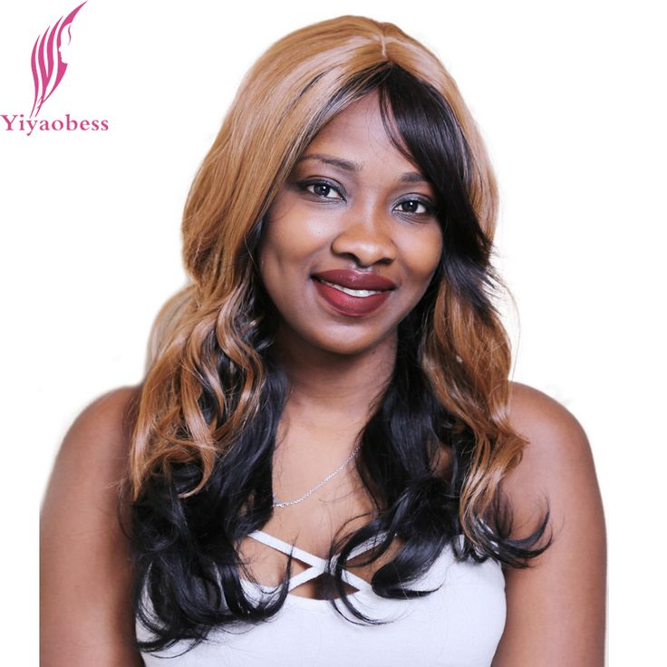 Yiyaobess 55cm Heat Resistant Synthetic African American Long Wavy Wigs For Women Brown Black Ombre Wigs With Bangs