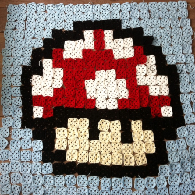 My crochet granny square mario mushroom nintendo blanket!