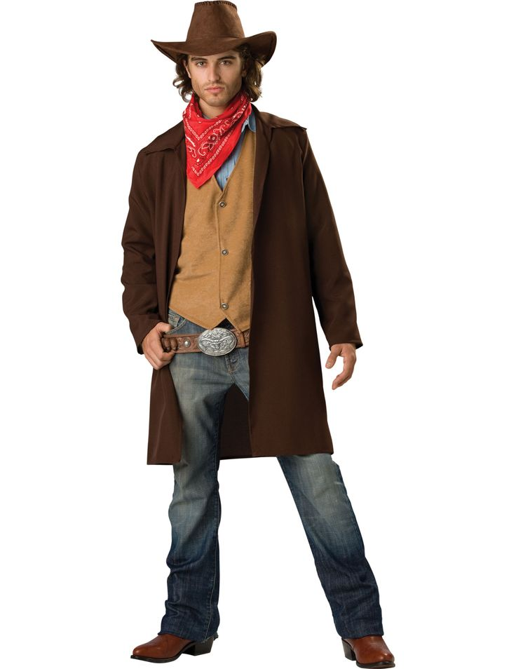 Deluxe Cowboy costume: The costume consists of a jacket, a vest, bandana, hat and a belt (trousers, shoes, and sirt not included).The vest is long as long as the middle of thighs. It is solid brown and comes with a...