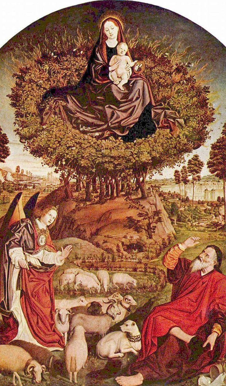 Panel central del Retablo de la zarza ardiente,19 de Nicolas Froment, 1476, Gótico final (primitivos franceses).