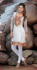Show details for White and Gold Summer Kurti