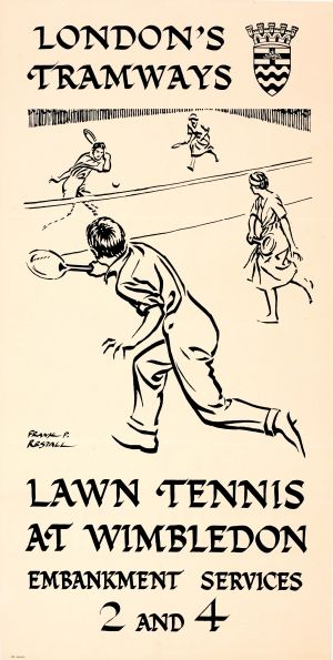 LT London Tramways Tennis Wimbledon Restall, 1922 - original vintage poster by Frank P. Restall listed on AntikBar.co.uk