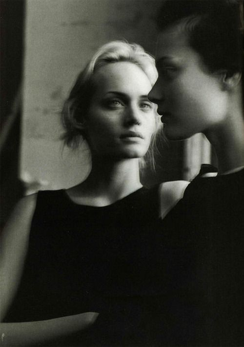 """""""Portrait of Beauty"""". Amber Valetta and Shalom Harlow by Steven Meisel for Vogue Italia January 1996"""