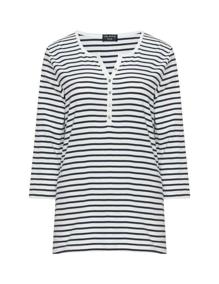 Via Appia Due Gestreiftes Baumwoll-Jerseyshirt in Creme / Dunkel-Blau. Gekauft