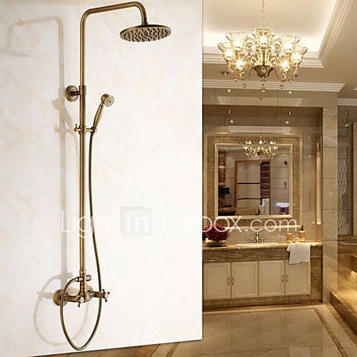 Antique Brass Wall Mounted Two Handle Rain Shower Faucet Set with 8 Inch Shower Head and Hand Shower - USD $209.43 ! HOT Product! A hot product at an incredible low price is now on sale! Come check it out along with other items like this. Get great discounts, earn Rewards and much more each time you shop with us!