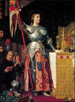 샤를 7세 대관식의 잔 다르크 - 도미니크 앵그르 作(1851년-1854년) 잔 다르크(1412년-1453년)는 왕위 계승 문제를 둘러싸고 벌어진 프랑스와 영국 사이의 100년 전쟁에서 프랑스를 지켜낸 영웅이다. 샤를 7세의 대관식 광경을 그린 것 이지만, 대관식을 주제로 삼지 않고 잔 다르크의 영웅적인 모습을 전면에 부각시키고 있다. 이는 샤를 7세가 왕위에 오르는 데에 그녀가 결정적인 역할을 했기 때문이다.