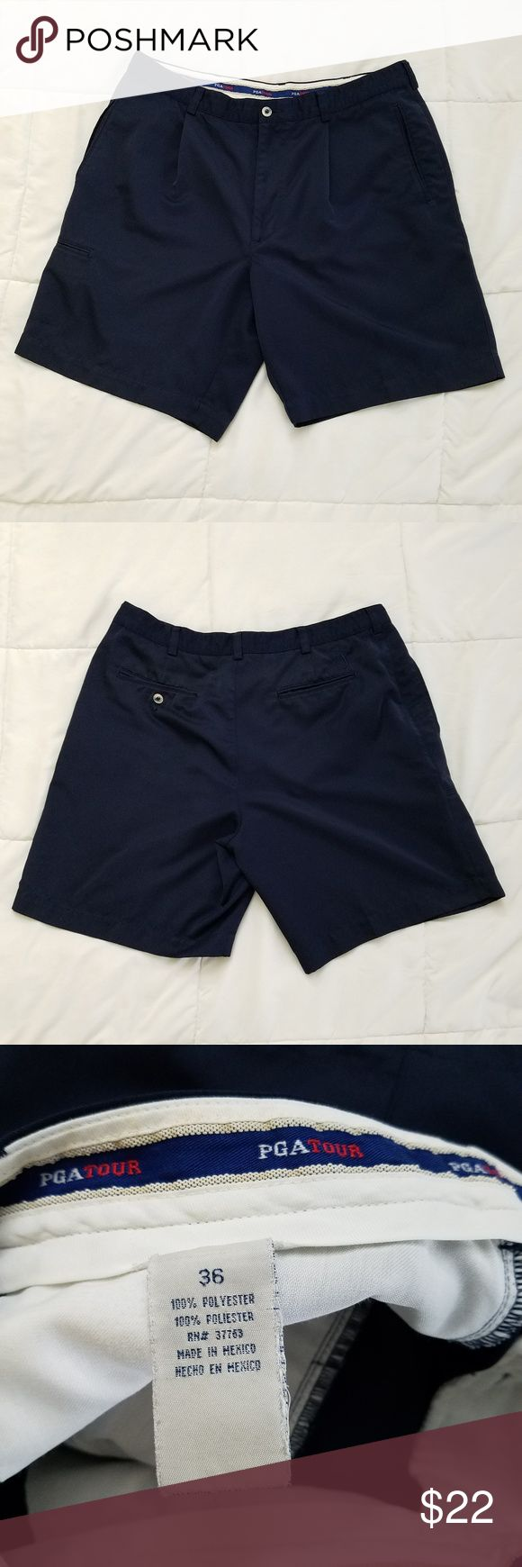 "PGA Tour Golf Shorts Mens 36 Navy Good Used Condition  Measurements are taken laid flat:  Inseam - 9"" Waist - 17.5""  Shorts comes from a smoke and pet free home. PGA Tour Shorts"