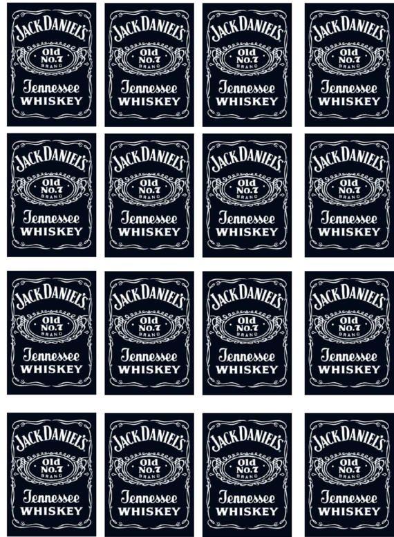 Black Whiskey Edible Image Bottle Labels