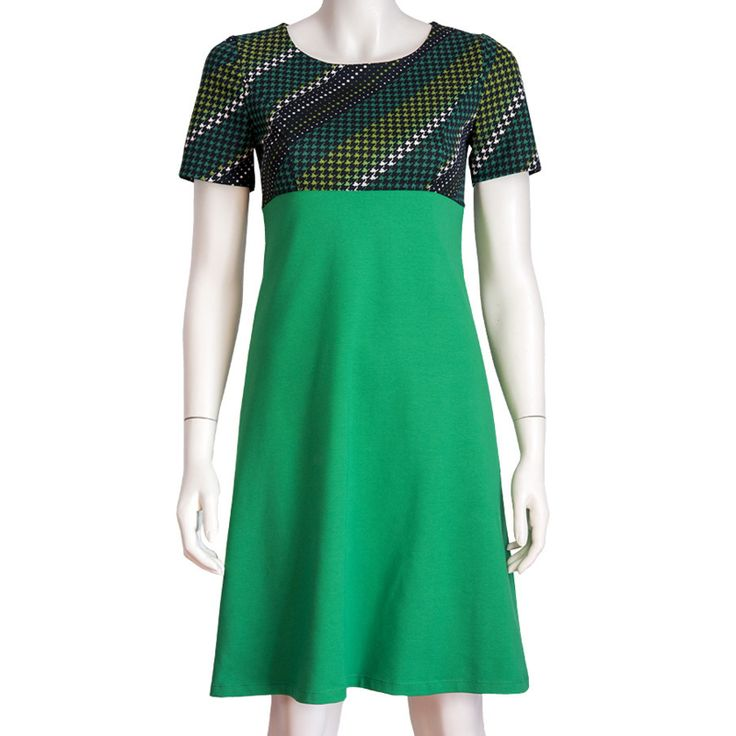 Dress Emma  - Green mix - 60s/70s vintage fabric - Pop Rok