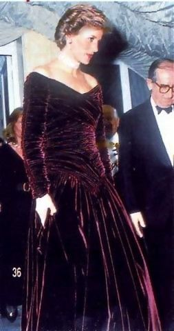 Princess Diana, by Catherine Walker. Burgundy velvet ball dress, gathered bodice  and skirt and long sleeves with rouleaux down the outside arm. ......Uploaded By  www.1stand2ndtimearound.etsy.com