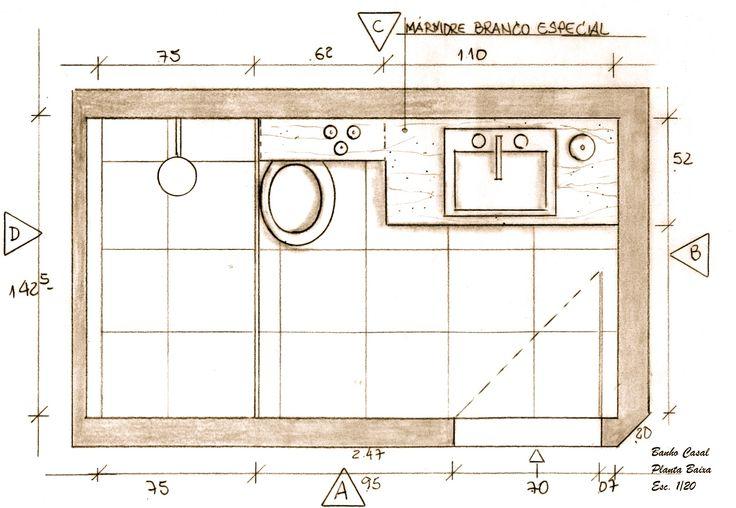 Suíte Casal  Banheiro Planta Baixa  Projeto Ana Lucia Nunes  Banheiros  P -> Banheiro Pequeno Planta Baixa