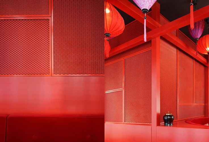 Expanded Sheet Metal wall covering in Tim Raue's Dragonfly restaurant in Dubai. Love the bright red colour! Design by BruzkusBatek, found at www.batekarchitekten.com