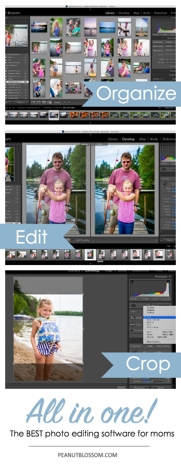 The best photo editing software for moms! You can organize your entire photo library, never lose a photo again! Fantastic photo editing features that are simple to learn and easy to use. Crop your images for printing or sharing with friends on social media. All of these features in one great program. This is a must have for all mom photographers and bloggers.
