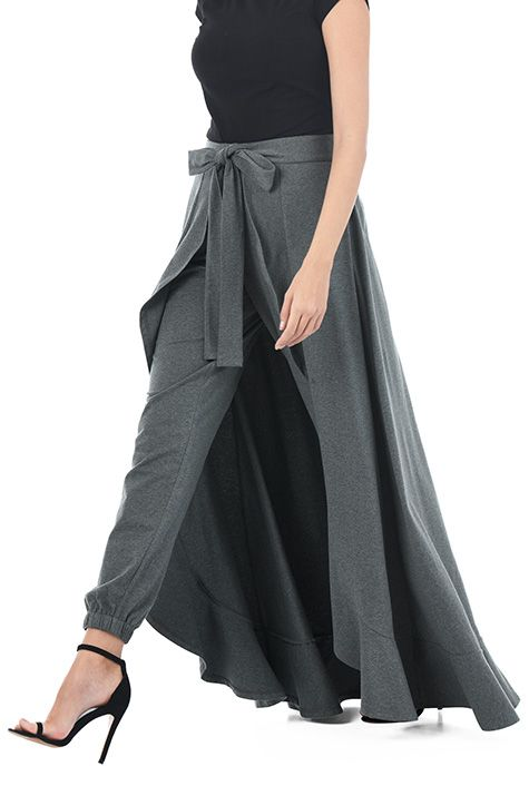 I <3 this Ruffle cotton knit tie front wrap pants from eShakti