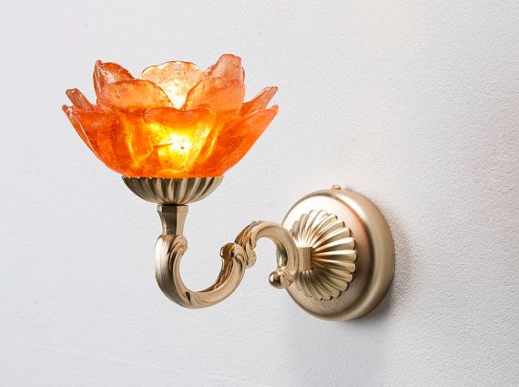 Tiger Lily Orange Wall Light Fixture / Hand Made / Orange epoxy polyester flower petals Lamp