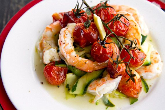 Olive oil poached prawns and tomatoes ---Perfect for a chilled lunch on a warm Mallorcan summer day