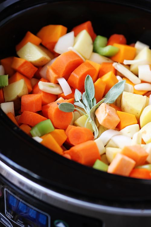 slow cooker root vegetable stew. So healthy and chock full of veggies! Fresh Market will even cube your butternut squash for you if you ask! WINNING!
