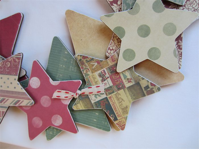 Christmas Wreath - Paper, MDF Stars