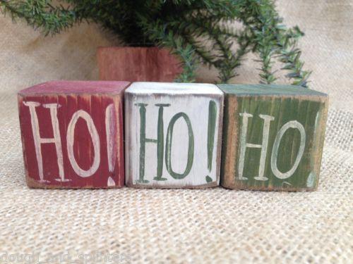 Primitive-Country-HO-HO-HO-Christmas-Winter-Shelf-Sitter-Wood-Cube-Block-Set
