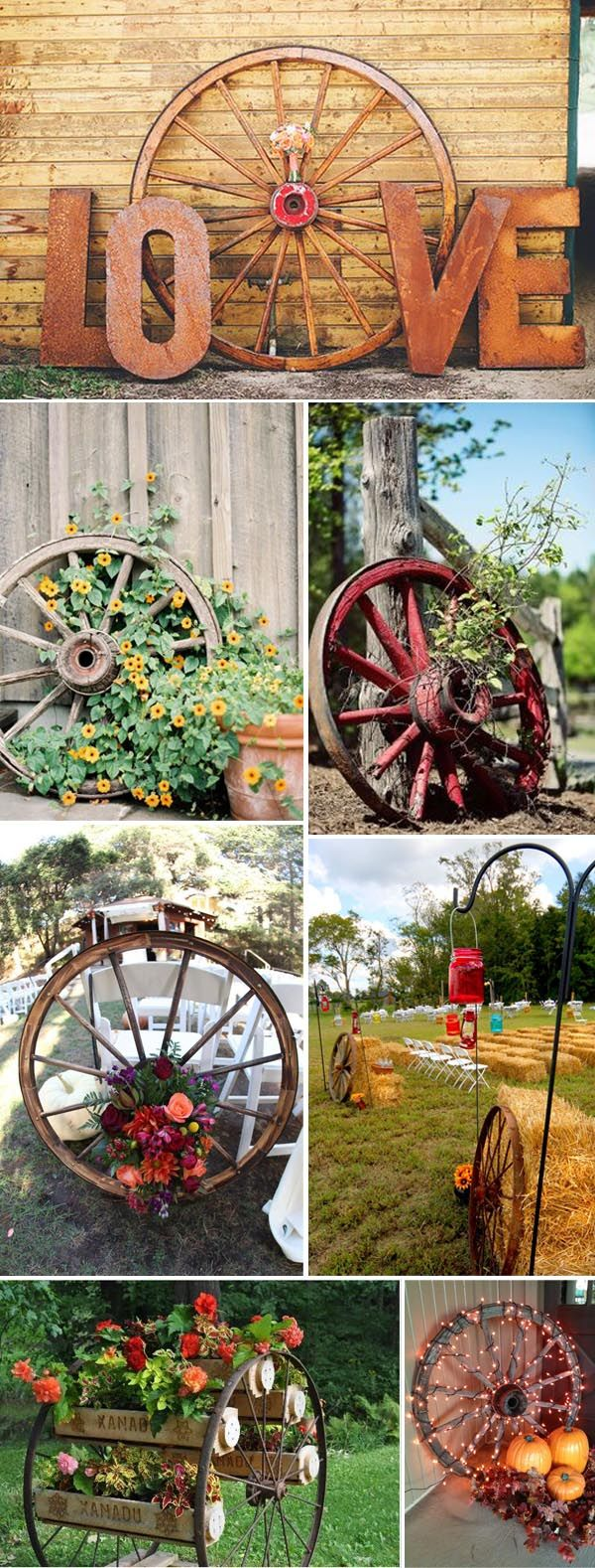 creative DIY rustic and country wagon wheel decoration ideas