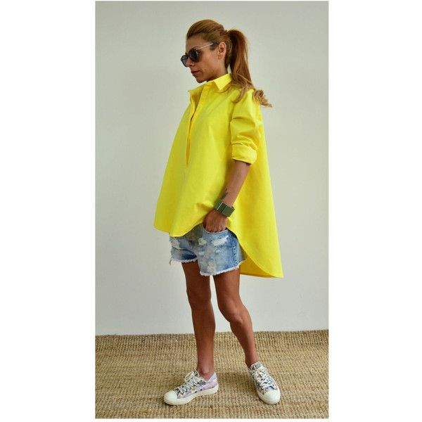 Asymmetric Yellow Shirt Loose Yellow Shirt Oversize Top Maxi Long... ($79) ❤ liked on Polyvore featuring tops, blouses, black, women's clothing, plus size tops, women's plus size tops, oversized long sleeve shirt, long sleeve shirts and plus size long sleeve shirts