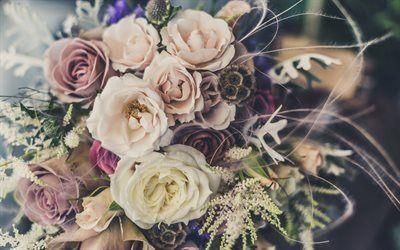 Scarica sfondi bouquet di nozze, un mazzo di rose, bouquet gratuito, rose, bellissime rose, bouquet sposa