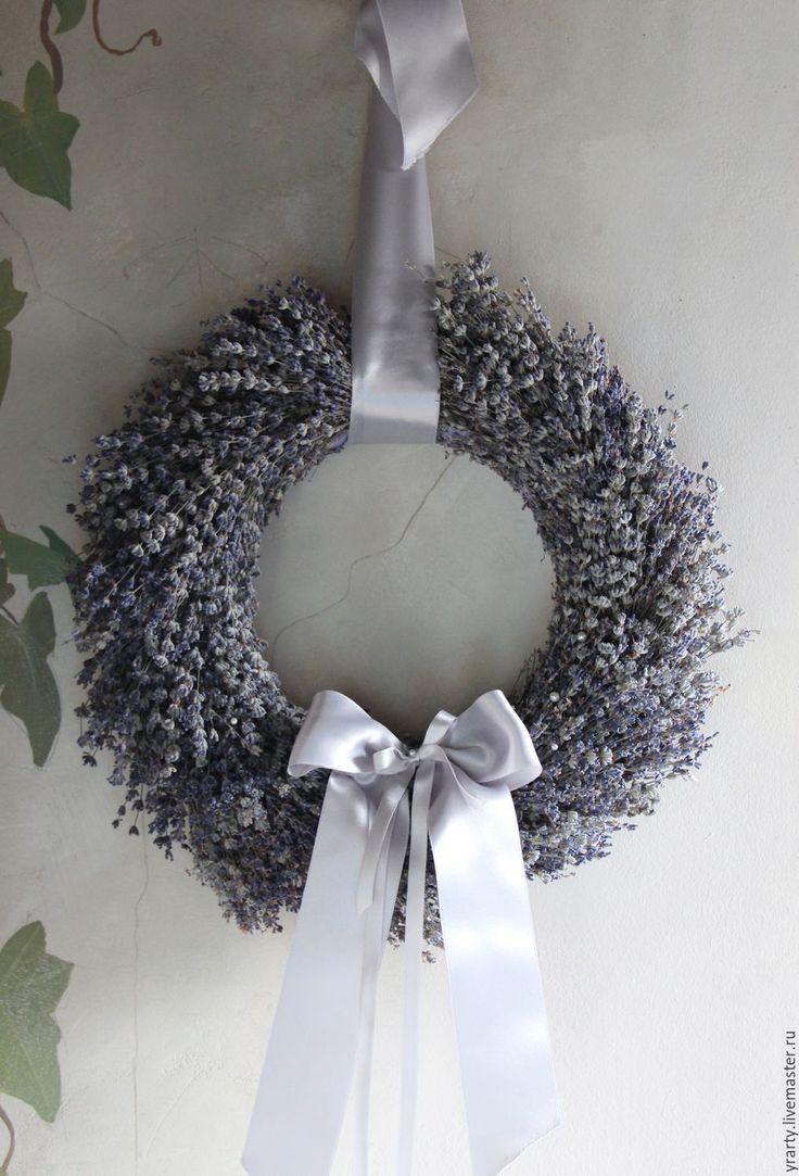 Купить Венок из лаванды - лаванда натуральная, венок, цветы, атласная лента, декор для интерьера, лаванда