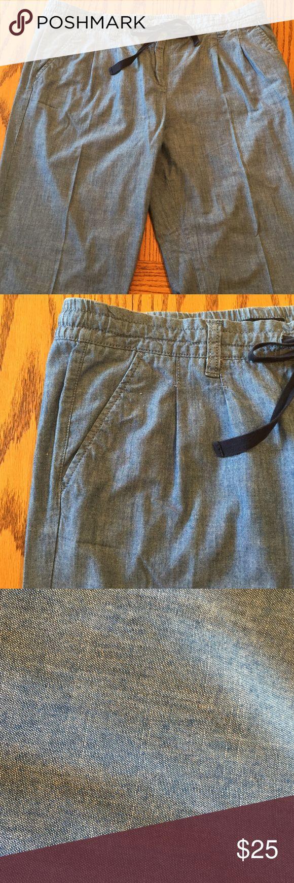 "Tommy Hilfiger blue cotton capris. Size 14 Like new Tommy Hilfiger chambray drawstring capris. Size 14. 24"" inseam 11"" rise. 100"" cotton Tommy Hilfiger Pants Capris"
